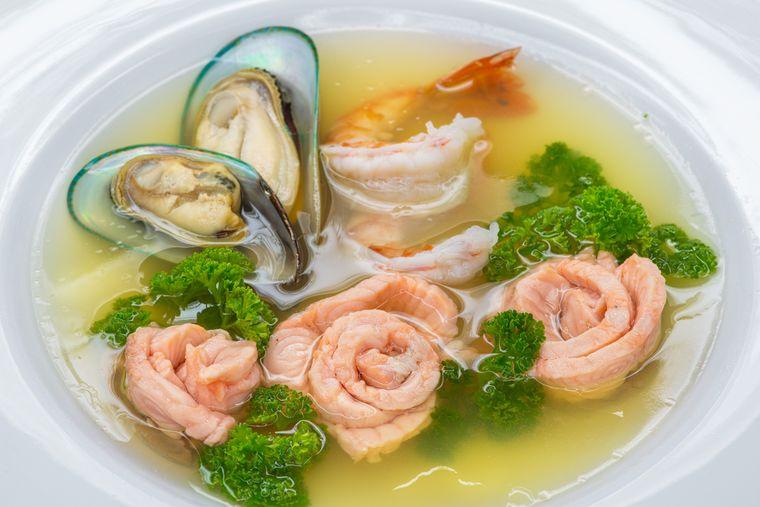 заливное с морепродуктами