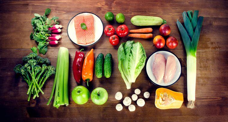 овощи, фрукты, рыба и курица