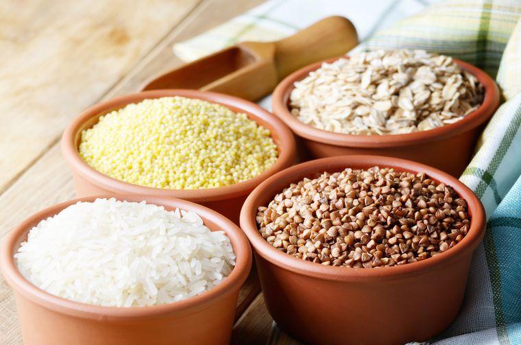 рис, гречка, пшено, овес