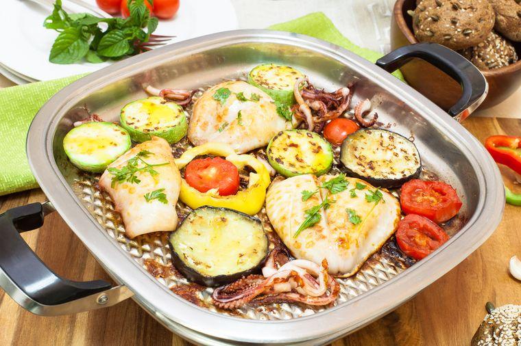 рыба и овощи гриль