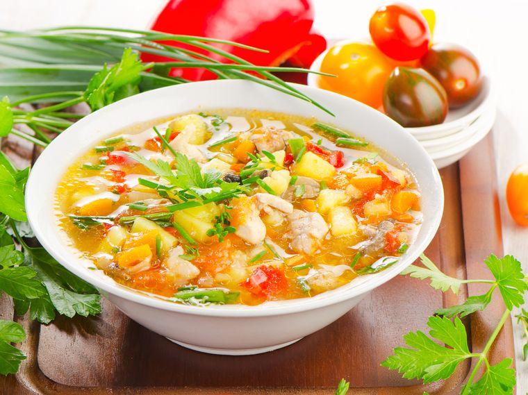 суп с курицей и картофелем