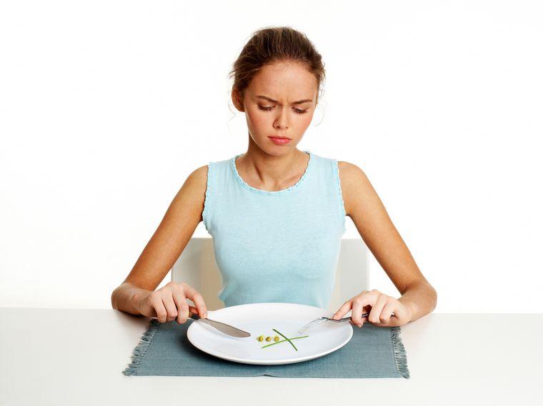 грустная девушка на диете