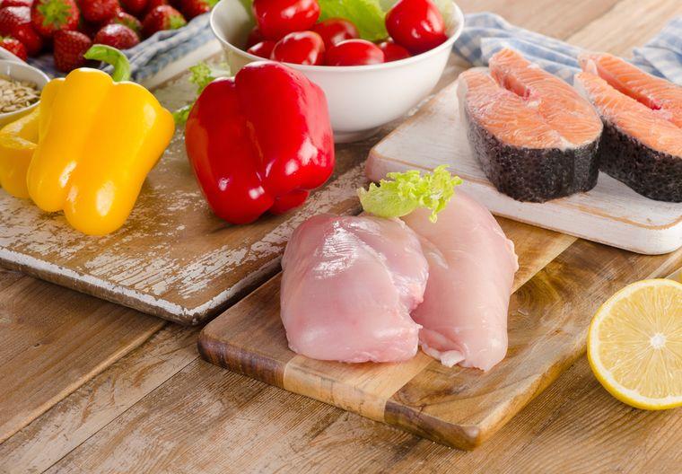 рыба, мясо и овощи