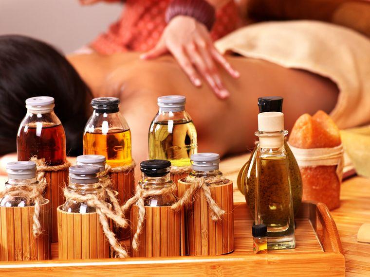 массаж с маслами
