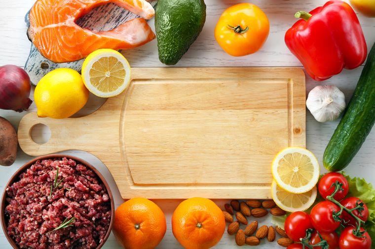 овощи, фрукты, рыба и мясо