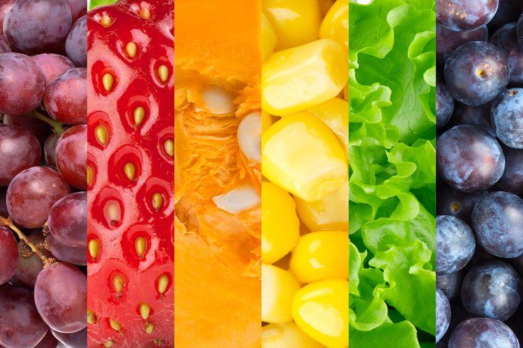 разноцветные овощи и фрукты