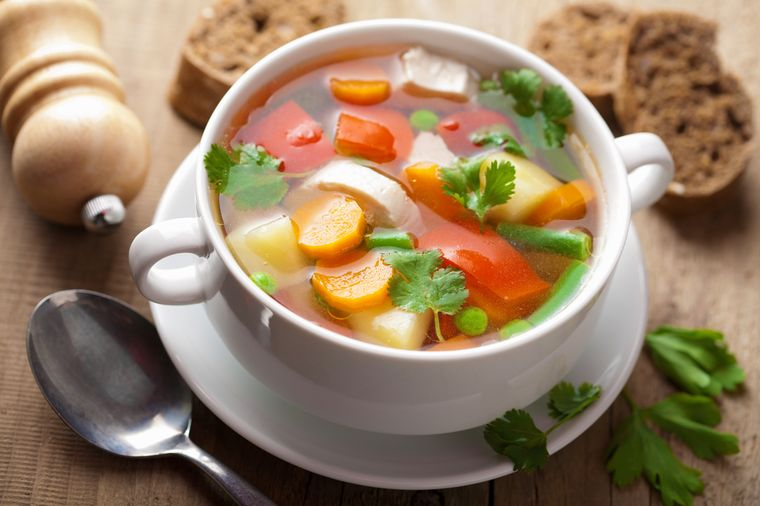 суп - важный компонент диеты Ксении Бородиной