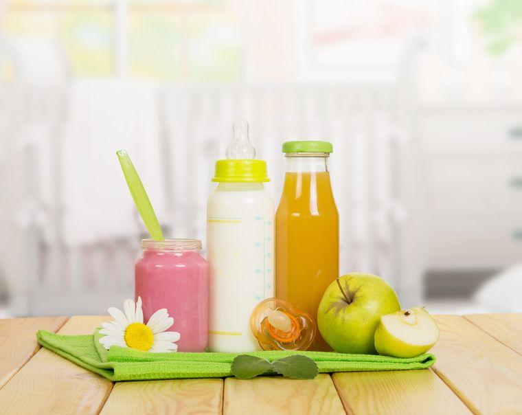 детская смесь, пюре и сок