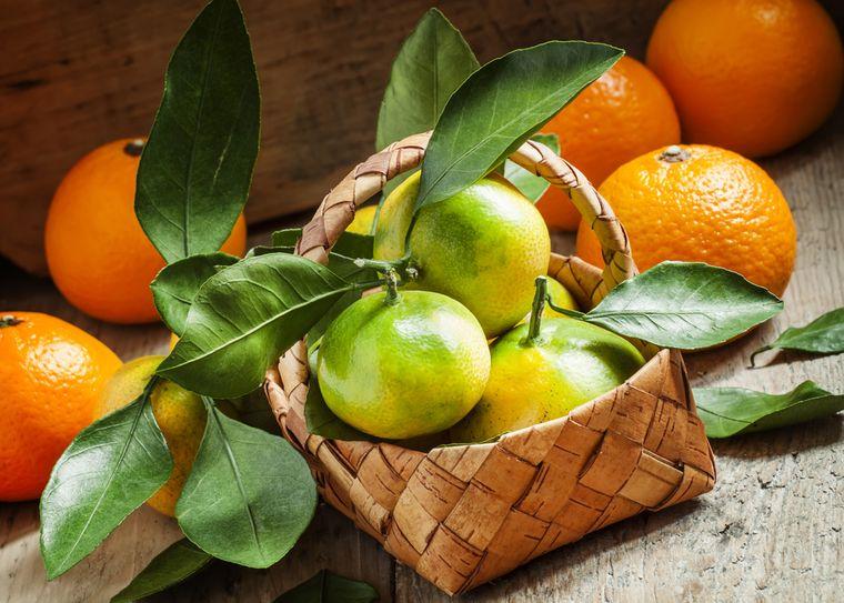 мандарины в корзине